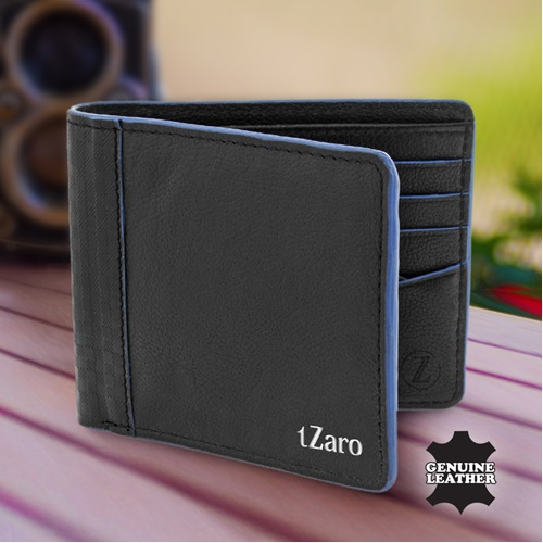 tZaro Pure Leather Black Color Wallet- IQZPMADWL054